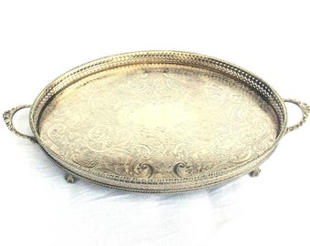 "Silver Plated Tray, Large Oval Drinks Tray, Serving Tray, Claw Feet, Double Handle, Curved Galleried Side, 19"" x 11.5"", Immaculate Condition"