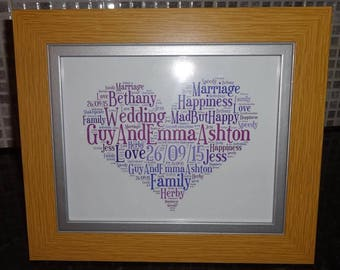 Personalised Wedding/Civil Partnership Word Art Frame