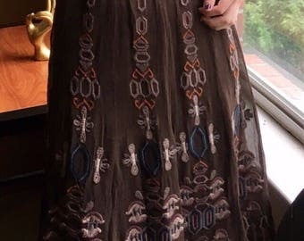 Vintage 1970s Gianni Bini brown flowy pattern boho skirt