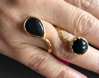 Gemstone ring, Agate ring, Double stone ring, Adjustable ring,  Black ring