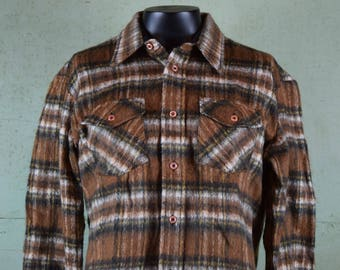 Vintage 1970's Brown Flannel Button Up Shirt / Menswear / Outerwear / Plaid / Fuzzy / Fruit of the Loom / Cotton, Polyester / Tag size XL