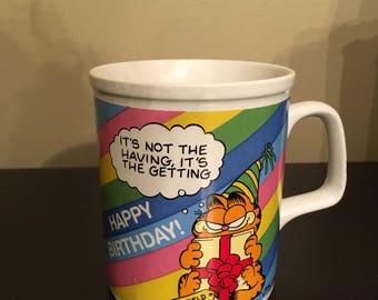 Vintage 1978 Garfield Rainbow Happy Birthday Ceramic Mug Enesco