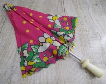 Vintage Children's Umbrella Soviet umbrella Vintage Parasol Rain Umbrella Rain parasol Pink umbrella Children's gift Nylon Parasol USSR 1980