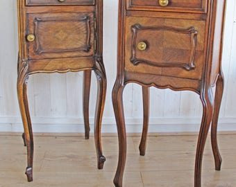 Two, French, Marble top, Bedside, Cabinets, Pot, Cupboards