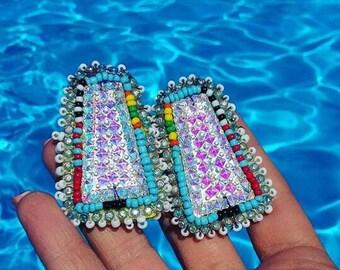 hand beaded earrings Native American Style