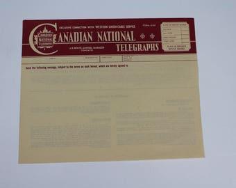 CANADIAN NATIONAL TELEGRAPHS original unused telegraph paper 1950s