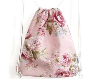 Pink backpack with floral print for school or for holidays or for a festival to complete your outfit, pink romantic backpack lady