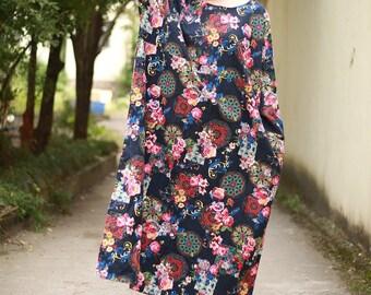 Women tunic dress long sleeve spring autumn dress linen dress large size maxi dress oversize dress plus size clothing long dress