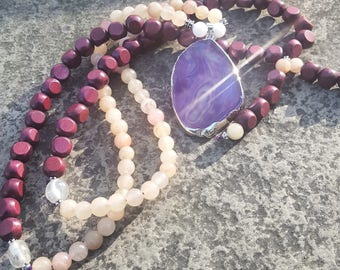 Purple Agate Slice Mala Necklace