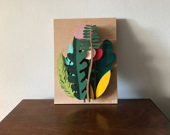 Wooden illustration, botanical illustration, wooden home decor, floral illustration, botanical art, diorama, wall decor, wood home decor