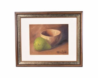 Impressionist Still Life Painting Bowl with Green Pear signed