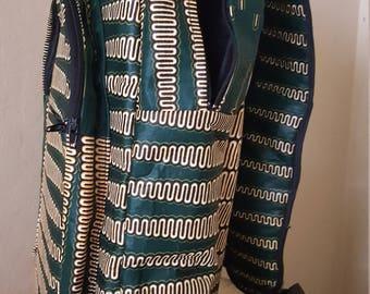 African Geometric Wax Print Backpack - Large