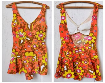 Groovy Tulip Skirted Flower Power Bathing Beauty One Piece Swimsuit in Orange and Yellow, Mod, Swimwear, Vintage Fabric, 60s, Drop Back