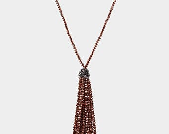 Rose Gold Faceted Bead Tassel Long Necklace