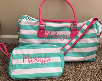 Girls Skylar Monogrammed Duffle and Accessory Bag