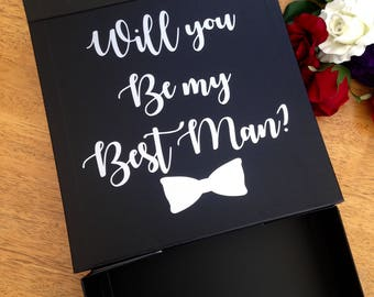 Will you be my best man wedding gift box black