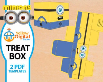 70% OFF SALE Printable Despicable Me Minion Treat Box, two PDF templates - Instant Download