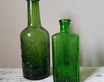 2 Vintage Glass Medicine Bottles / Vase