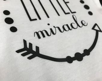 Little Miracle baby onesie with arrow frame Cute