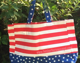 patriotic tote, usa tote bag, 4th of july bag, stars and stripes, military support