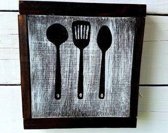 Kitchen Utensils Art kitchen utensil art | etsy