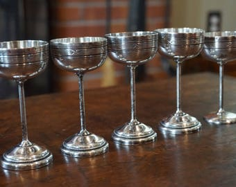 Set of 5 Vintage  Miniature Silver Plated Goblets/Coupes/ Beautiful silver stems/ Unmarked Silver Plate