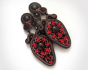 Brown Dangle Earrings, Soutache Earrings, Unique Earrings, Soutache Jewelry, Red und Brown Earrings, beaded earrings, red brown earrings