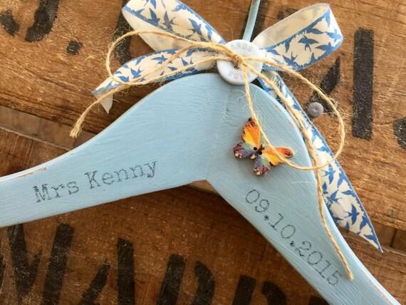Something Blue Custom Wedding Hanger // Decorative Wedding Hanger // Custom Mrs Name and Date Wedding Gift