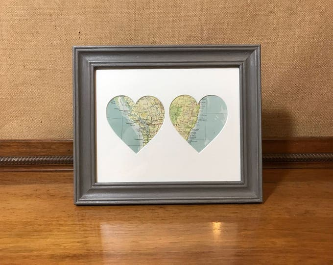 Featured listing image: Framed Heart Map | Custom Heart Map | Heart Map Gift | Custom Map Heart | Gift For Newlyweds | Newlyweds | Custom Wedding Map | Wedding Gift