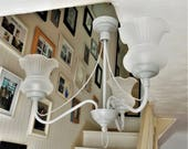 Vintage lighting fixture upcycled in Annie Sloan Paris Grey, gray retro shabby chic chandelier with opal glass shades, flush ceiling  light