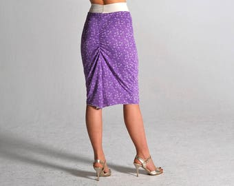 CLARA white & purple slit skirt - size XS and S only