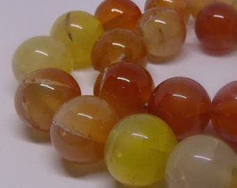 Red 15mm Round Natural Agate Gemstone Beads (22 pieces)