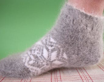 SUPER PRICE Friendly to Skin Eco Angora wool yarn with goat down Woman slippers EU-38-40US- 8-9 Knit short socks of gentle and soft