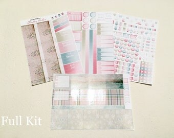 Floral Flakes - February - Monthly spread planner stickers - 4pages - Erin Condren - Plum Paper - Kikki K - Paperchase - Filofax