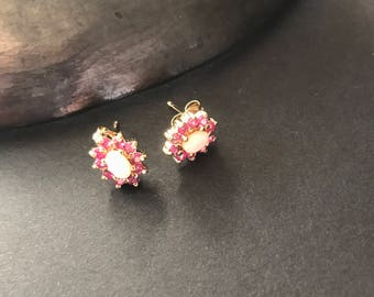 Sterling silver opals and rubies stud earrings small vintage gold plated vermeil