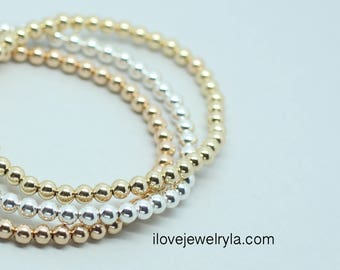 Beaded Bracelet 14k Gold Filled and Sterling Silver Rose Gold-filled, Stretch Bracelet,  layering bracelet