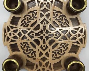 4-Candle Celtic Cross Advent Wreath - Maple & Walnut
