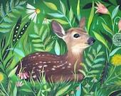 Meadow Fawn Art Print | Acrylic Painting | Nursery | Woodland Animal | Floral | 8x10 & 11x14