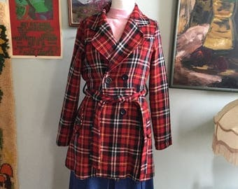 SALE 90s does 70s plaid red jacket lightweight jacket size small