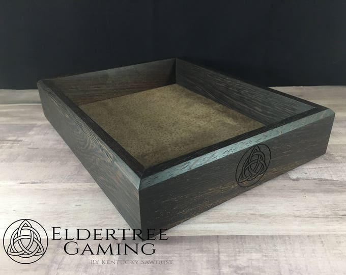 Premium Dice Tray - Table Top Sized - Wenge with Felt or Leather Rolling Surface - Eldertree Gaming