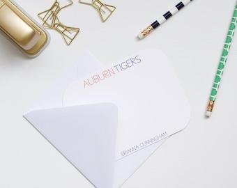 Personalized Stationery, Auburn Stationery, Auburn Tigers, Collegiate Stationery, College Stationery, Custom Stationery, Flat Notecard