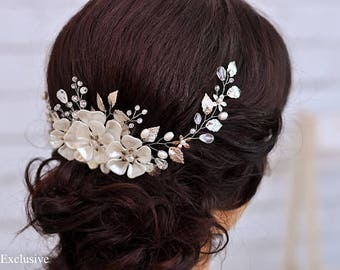 Wedding headpiece Bridal hairpiece Flower hair comb Bridal hair comb Crystal hair piece Crystal hair comb Rhinestone headpiece Bridal comd
