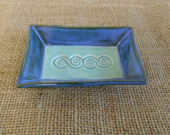 Mottled Blue and Aqua Spiral Candle Plate, Square Plate, Altar Plate, Offering Dish