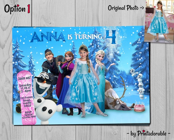Frozen Birthday Invitation - Elsa Invite - Disney Printables, Fully Customizable with Olaf, Kristoff, Sven and snowgies