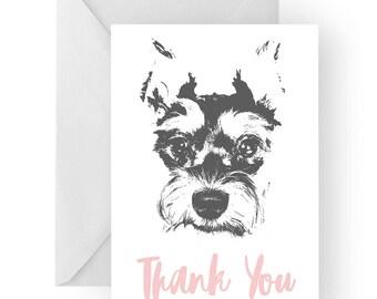 Schnauzer thank you card- Schnauzer greeting card, Schnauzer thank you card, Schnauzer gift, Schnauzer gift card, Schnauzer print