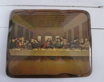 Vintage wooden Table Holy plate / Vintage Wooden flat Banks Valentine