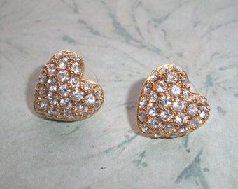 Vintage Swan Mark Swarovski Crystal Heart Stud earrings,post,for pierced ears,Gold tone,signed,puffy,rhinestones,crystals,wedding,love