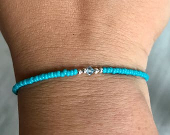 Teal Swarovski/miyuki bracelet, teal bracelet, Swarovski bracelet, miyuki bracelet, Swarovski aquamarine, bridesmaids gift, Wedding favor