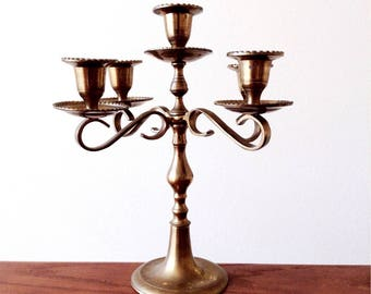 Gold Brass Candelabra, Ornate Mid-Century Candlelabra, Ornate Metal Candlestick Holder, Gold Wedding Candlestick Stand