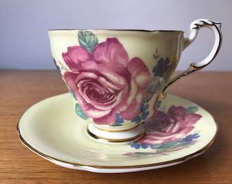 Paragon Yellow Tea Cup and Saucer, Large Pink Rose Teacup and Saucer, Bone China, 1950s, 1960s, Garden Tea Party, Gift Idea